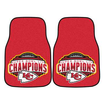 "Kansas City Chiefs Super Bowl LIV 54 Champions 2-pc Carpet Car Mat Set 17""x27"""