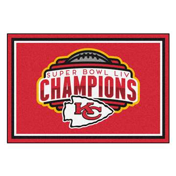 "Kansas City Chiefs Super Bowl LIV 54 Champions 5x8 Rug 59.5""x88"""