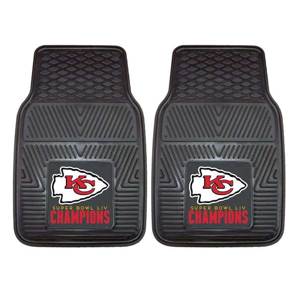 "Kansas City Chiefs Super Bowl LIV 54 Champions 2-pc Vinyl Car Mat Set 17""x27"""