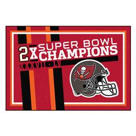 "Tampa Bay Buccaneers Super Bowl LV 55 Champions Dynasty 5x8 Rug 59.5""x88"""