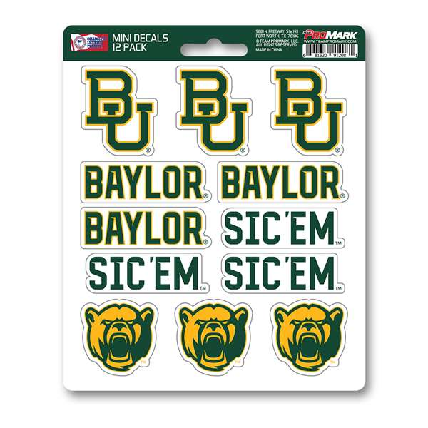 Baylor University Mini Decal 12-pk 12 Various Logos /