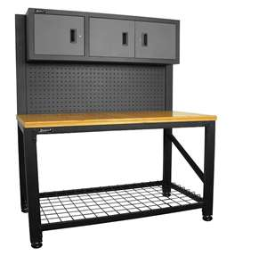Homak 59-Inch Wood Top Workbench with 3 Door Cabinet, Steel