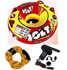 Xtreme Water Sports Jolt 42 inch Towable Lake Tube with Air Pumo & Rope