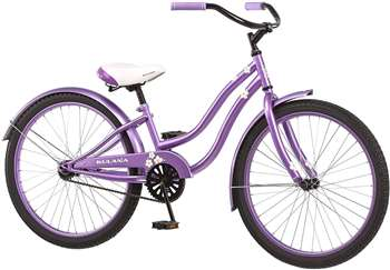 "Kulana Girls Hiku Cruiser Bicycle with 24"" Wheels, Purple"