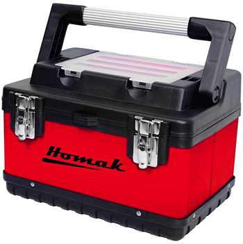 Homak 15-Inch Metal and Plastic Hand-Carry Toolbox with Aluminum Handle, Red