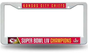 Kansas City Chiefs Super Bowl LIV 54 Champions Plastic License Plate Frame
