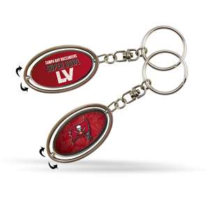 Tampa Bay Buccaneers 2021 Super Bowl LV Bound Silver Spinner Metal Keychain