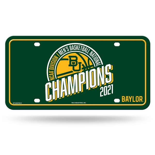 Baylor University Bears 2021 NCAA Basketball National Champions Metal License Plate Tag