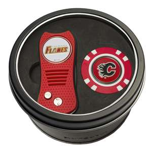 Calgary Flames Golf Tin Set - Switchblade, Golf Chip