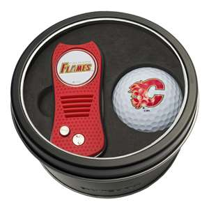 Calgary Flames Golf Tin Set - Switchblade, Golf Ball