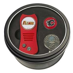 Calgary Flames Golf Tin Set - Switchblade, Cap Clip, Marker 13357