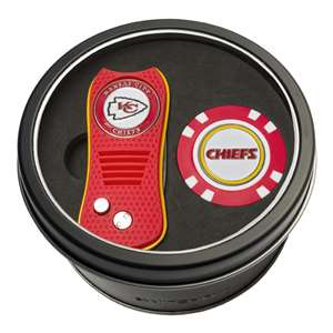 Kansas City Chiefs Golf Tin Set - Switchblade, Golf Chip