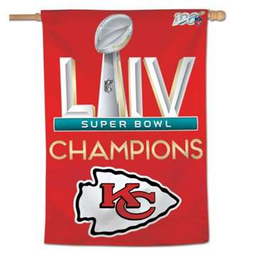 Kansas City Chiefs Super Bowl LIV 54 Champions  Vertical Flag Banner 28 X 40 Inches