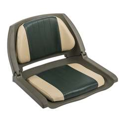 Wise Cushioned Molded Plastic Shell Fold Down Boat Seat Green/Sand/Green Shell