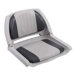 Wise Cushioned Molded Plastic Shell Fold Down Boat Seat Grey/Charcoal/Grey Shell