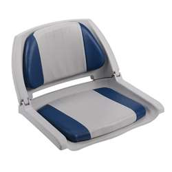 Wise Cushioned Molded Plastic Shell Fold Down Boat Seat Grey/Blue/Grey Shell