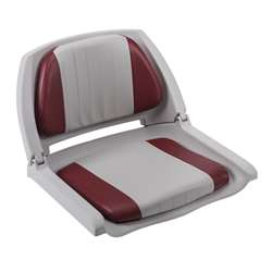 Wise Cushioned Molded Plastic Shell Fold Down Boat Seat Grey/Red/Grey Shell