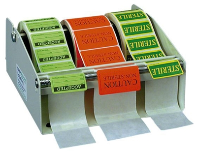 "Label Dispenser, metal construction, 8"" overall width holds up to 3 rolls of labels, use either on a table or mounted to a wall"
