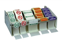 "Label Dispenser, metal construction, 12"" overall width holds up to 5 rolls of labels, use either on a table or mounted to a wall"