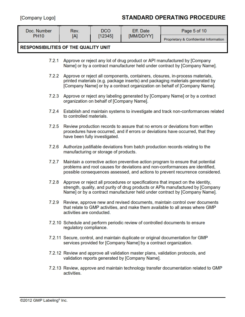QUALITY UNIT RESPONSIBILITY SOP Templates Group PH100