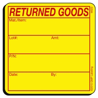 Returned Goods Materials Label M022 by GMP Labeling
