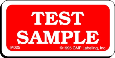 TEST SAMPLE Material Label