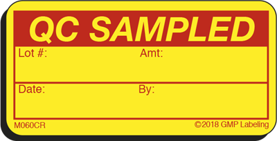 QC SAMPLED Materials Cryogenic Label