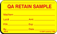 QA RETAIN SAMPLE Material Label