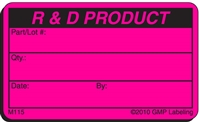 R& D PRODUCT Material Label