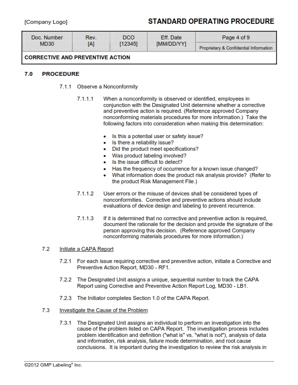 Corrective Action Template - Contegri.com