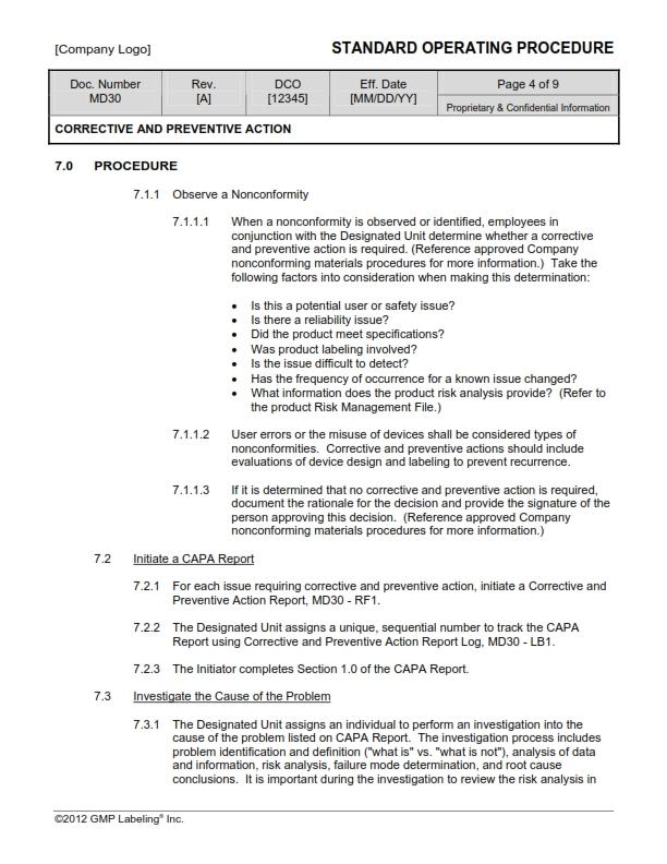preventive action plan template - corrective preventive action sop templates md30 gmp