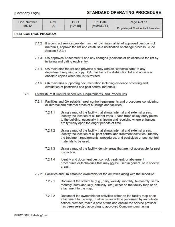 pest management plan template - pest control program sop template md42 gmp qsr iso comp
