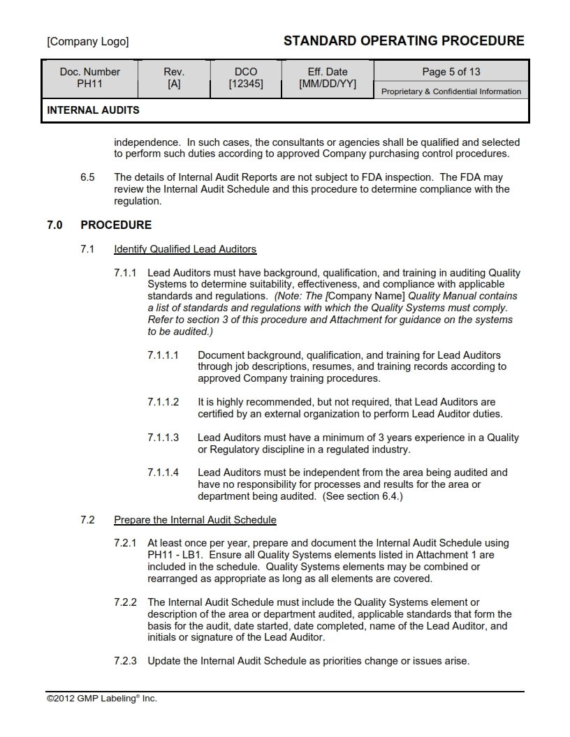 INTERNAL AUDITS SOP Template Larger Photo