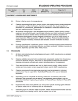 EQUIPMENT CLEANING AND MAINTENANCE SOP Template