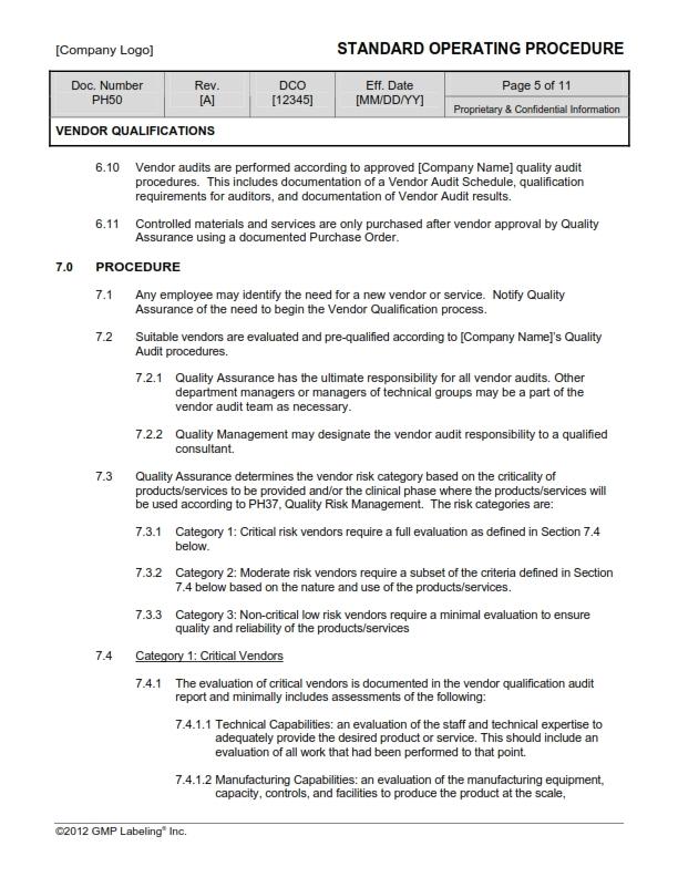 VENDOR QUALIFICATIONS SOP Template PH50 - GMP, QSR & ISO Comp