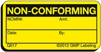 NON CONFORMING Quality Control Label