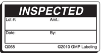 INSPECTED Quality Control Label