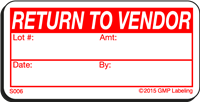 RETURN TO VENDOR Status Label