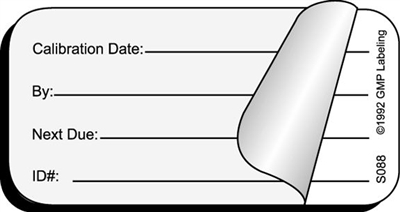 calibration date self laminating status label s088 gmp qsr iso. Black Bedroom Furniture Sets. Home Design Ideas