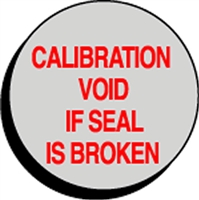 CALIBRATION VOID IF SEAL IS BROKEN Status Label