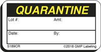 QUARANTINE Status Cryogenic Label