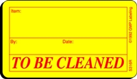TO BE CLEANED Status Label
