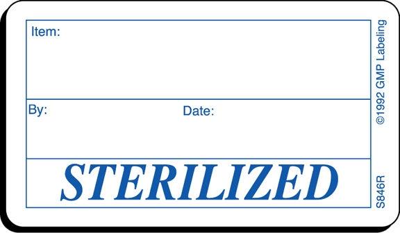 Sterilized Status Label S846r Gmp Qsr Amp Iso Compliance