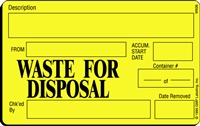 WASTE FOR DISPOSAL Waste Label