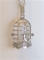 Bird Cage Lava Bead Cage Pendant Necklace