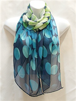 Blue and Green Circle Scarf