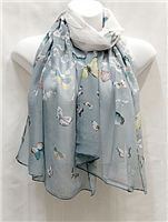 Blue with Yellow Butterflies Scarf