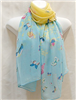 Blue, Yellow and Pink Butterfly Scarf