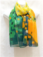 Green and Orange Squares Scarf