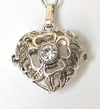 Large Heart-Lava Bead Cage Pendant